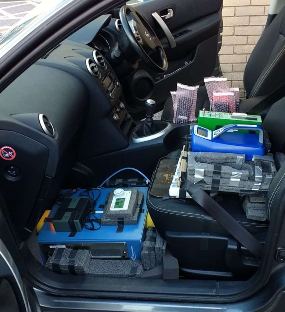 High quality test gear installed in-car alongside Pollution Guardian prototypes